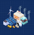 electric service isometric composition with vector image vector image