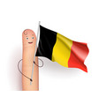 finger with belgium flag vector image vector image