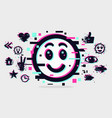 glitch style with smile face emoji vector image