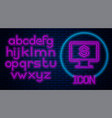 glowing neon computer monitor with dollar icon vector image vector image