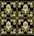 gold ornate 3d baroque seamless pattern vector image vector image