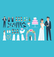 groom and bride kit cartoon wedding characters vector image vector image