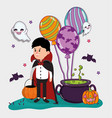 halloween kids celebration cartoons vector image