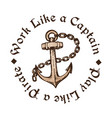 hand drawn anchor with chain engraving style vector image vector image