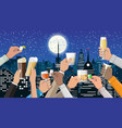 hands group holding glasses with drinks vector image vector image