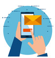 hands using smartphone sending email vector image vector image