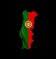 hanging portugal flag in form map portuguese vector image vector image
