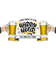 happy hour poster template with lettering vector image