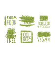 healthy organic natural farm food green labels vector image vector image