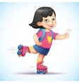 Little asian girl rides on roller skates Teen vector image