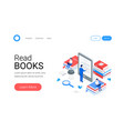 media book library isometric concept vector image vector image