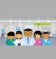 medical doctors group asian team hospital interior vector image