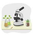 microscope pipette and plants growing in flasks vector image