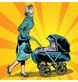 mom and stroller with baby vector image vector image