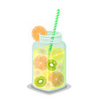 mug of refreshing drink with fresh kiwi grapefruit vector image