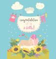nice card with cute bain flowers vector image