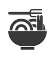 noodle bowl and fork food and beverage set glyph vector image