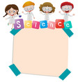 paper template with kids and science vector image vector image