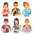 people eating eat drinking food men women healthy vector image vector image
