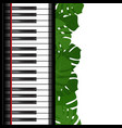 piano keyboard with monstera leaves frame vector image vector image