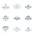 pizzeria logo set simple style vector image vector image