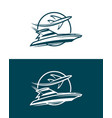 plane and boat in circle - icon vector image