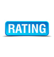 Rating blue 3d realistic square isolated button vector image vector image