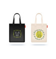 realistic shopping bag black white textile bags vector image vector image