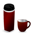 Red thermos bottle with red cup isolated on white vector image vector image