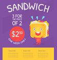 sandwich gift voucher template fast food discount vector image vector image