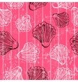 Seamless pink texture with clams vector image vector image