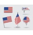 set american pin icon and map pointer flags vector image