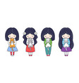 set of cute little dark-haired girls with kittens vector image