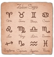 Set of simple zodiac signs with scuffed vector image vector image