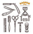 set vintage barbershop tools and accessories vector image vector image