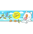 spring banner with singig bird and cat and flower vector image vector image