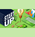 startup isometric concept with glowing light bulb vector image vector image