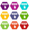 subscribe icons set 9 vector image vector image