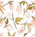 tender jungle peach flowers and leaves physalis vector image