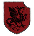 winged heraldic dragon and heraldic shield vector image