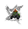 xtreme atv off-road quad bike isolated background vector image vector image