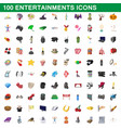 100 entertainments icons set cartoon style vector image