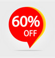 60 off discount sticker symbol sale red tag vector image