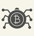 bitcoin microchip solid icon crypto chip vector image