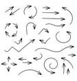black set of arrows pen hand drawing vector image vector image