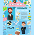 business manager and aviation pilot professions vector image vector image