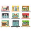 cafe storefront flat set vector image vector image