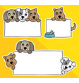 cartoon dog hold blank sign an vector image vector image
