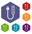 charger icons set hexagon vector image