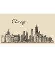 Chicago skyline big city engraving drawn vector image vector image